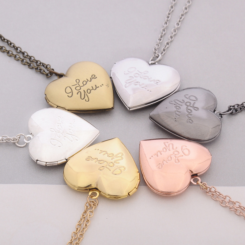 Valentine's Day Couple Necklace Wholesale Hot Sale Jewelry Pendant Love Photo Box Necklace NHBO193589