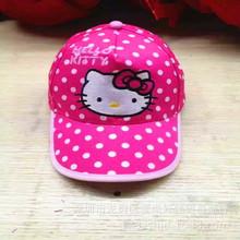凱蒂貓KT貓卡通百搭款兒童帽子鴨舌棒球帽遮陽帽魔術貼調節2-8歲
