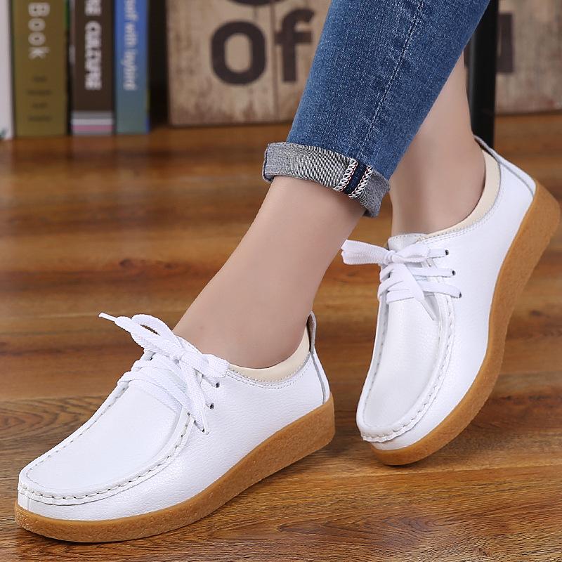 厂家直销新款真皮平底小白鞋系带女鞋休闲鞋牛筋底皮鞋批发
