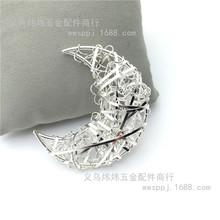 铁艺工艺品热批时尚单线铁丝月亮小挂件 创意手工灯串diy灯饰配件