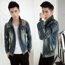 春季青年潮流破洞牛仔夾克外套男士復古修身牛仔衣服男裝韓版上衣
