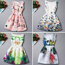 外贸童装欧美风复古印花童裙中大女童连衣裙礼服 无袖A字公主裙