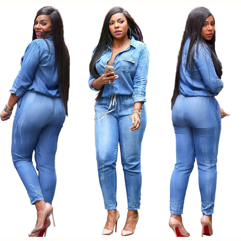 2640d063f394 Details about Women s Bodycon Jumpsuit Jeans Denim Rompers Overalls  Trousers Pants Casual