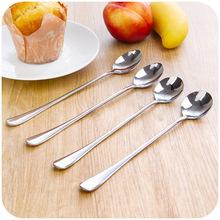 韩国创意不锈钢长柄勺子 办公室咖啡勺冰圆勺 搅拌尖勺 单个
