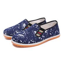 厂家直销新款男士低帮休闲鞋帆布一脚蹬懒人套鞋牛筋底老北京布鞋
