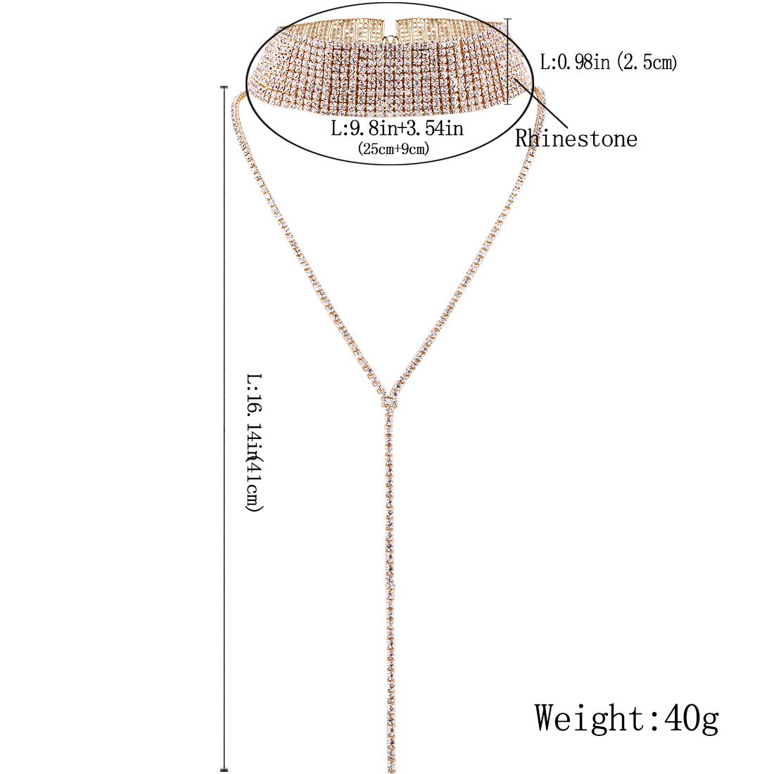 Personalized jewelry popular neck chain choker multilayer full diamond necklace NHMD177682