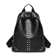 厂家直销2016新款韩版时尚夏季女包双肩背包铆钉包pu包一件代发