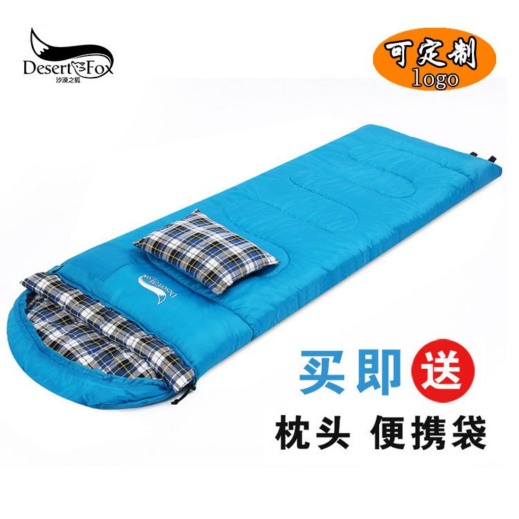 秋冬款户外双人情侣睡袋 带头枕可拼接露营睡袋 卡哇伊系野营睡袋