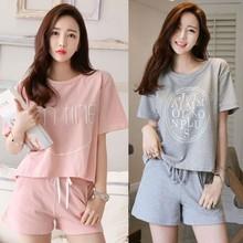 夏季短袖女士睡衣 韩版女生针织棉休闲宽松运动可爱家居服套装