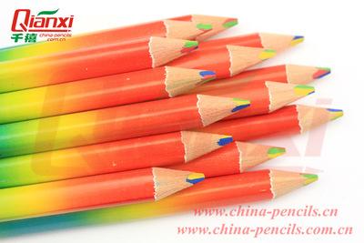 专业生产优质粗杆铅笔 四色同芯铅笔儿童用彩色铅笔