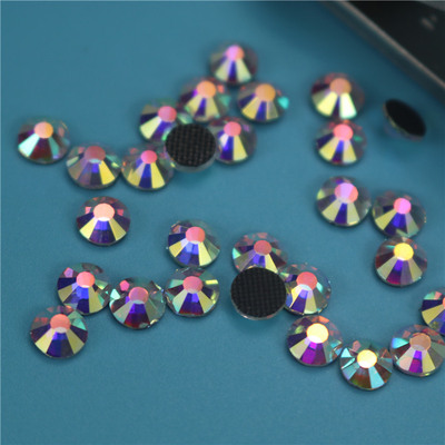Crystal AB Glass Flat Back Rhinestones, Golden Back White AB color DC East drilling suit accessories