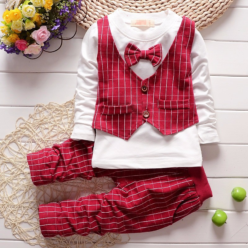 baby suit Style bow red stripes suit