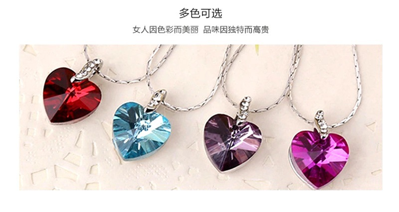 Fashion Necklace Korean Heart-shaped Crystal Geometric Female Necklace Jewelry Wholesale NHKQ187358