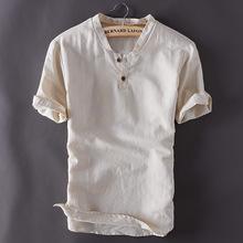 TX166亚麻t恤男士短袖套装复古?#21487;?#22823;码棉麻休闲T恤衬衫加工工厂