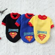 寵物衣服工廠直銷 超人衛衣秋冬款狗衣服 厚款狗背心保暖寵物衣服