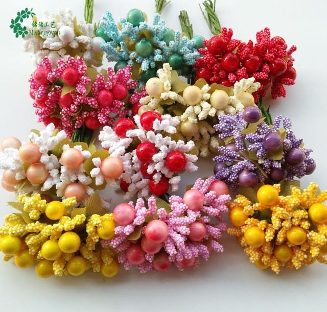 供应喜糖盒配件 带叶小果花心 花环材料 浆果 批发