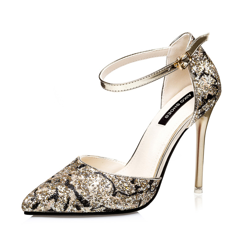 Fashion sexy nightclub pointed hollow out fine high-heeled shoes with sequins sandals color matching's main photo