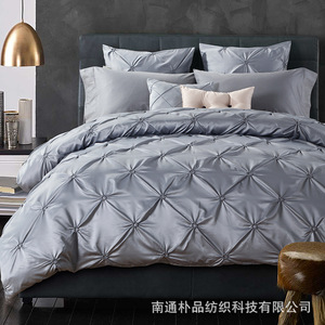 Classic Silver soft outfit samples of the European and American bedding bedding cotton satin drill four piece of textile
