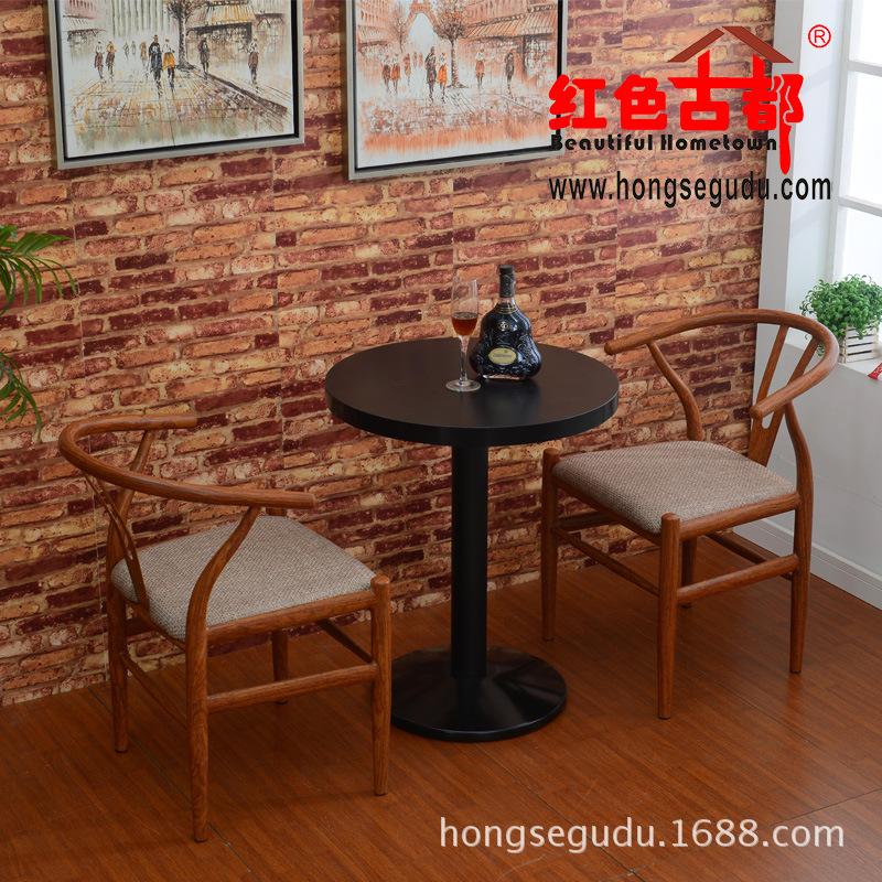 仿木纹铝合金桌椅套件组合41-12