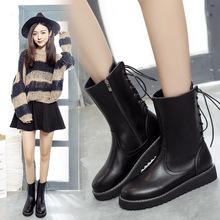 2016秋冬季保暖圆头后系带马丁靴时尚英伦侧拉链中筒靴平底短靴