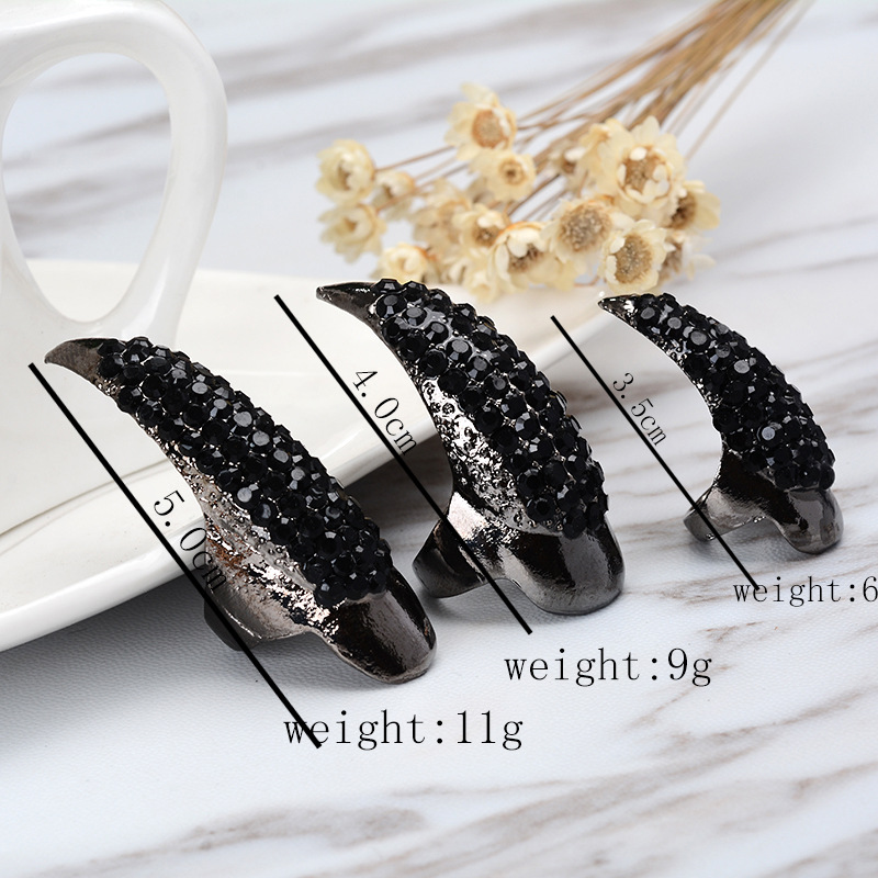 articulated diamonds exaggerated long nails punk style fashion diamond embellished cat demon tips long nail sleeve ring NHGY217115