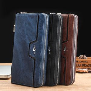 新款欧美撞色复古男女士手拿包拉链钱包手腕包男女通用型手机钱包
