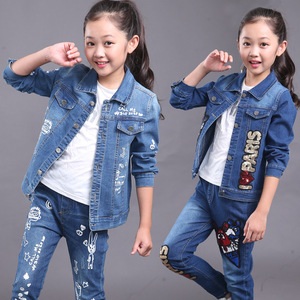 2017, the new Korean version of children's wear, girls in autumn, large children, cowboy leisure suit, spring and autumn