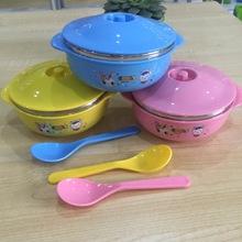 七彩童年304儿童不锈钢小碗 双层防摔隔热宝宝碗 不锈钢保温碗
