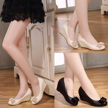 Giày da nữ đế xuồng, phối nơ xinh xắn, phong cách cổ điển