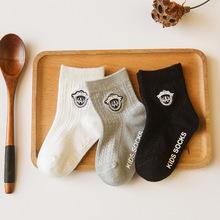 儿童袜子批发薄款英伦刺绣徽章袜 男款儿童袜子 网眼无骨缝头