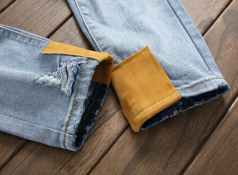 Großhandel Hot Sale Männer Marke Loch Patch Jeans Hosen Mode Aufkleber Motorrad Hosen Humen Casual Männer Jeans Von Oldriver, $51.54 Auf De.Dhgate.Com