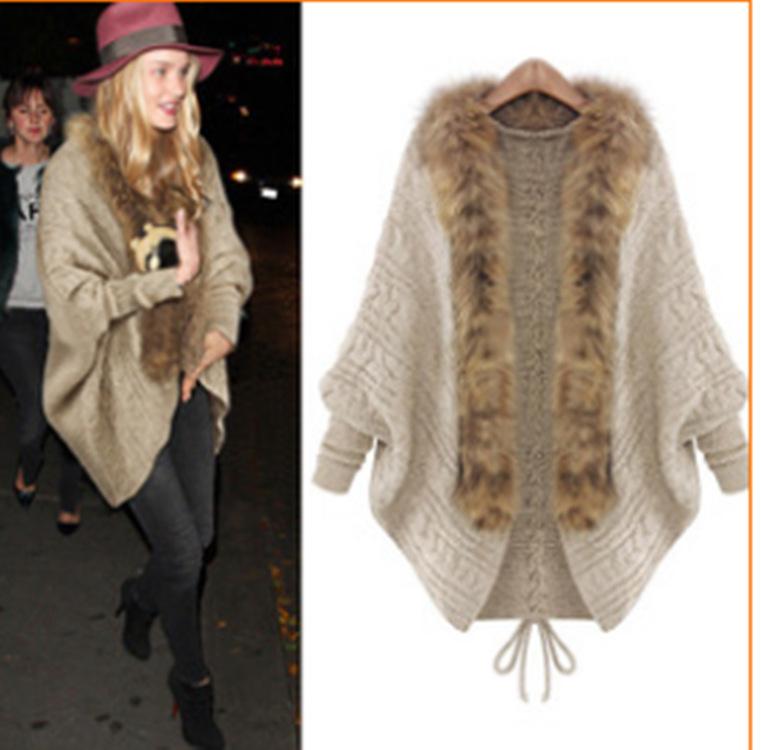 速卖通2108秋冬韩版新款开衫宽松大码针织衫毛领蝙蝠型毛衣外套女