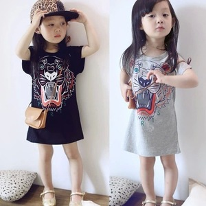 2016 girls in the summer section of a long dress printed with the Korean version of the tiger head t-shirt t-shirt child