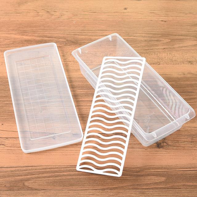 Ráo nước hình chữ nhật crisper bếp tủ lạnh kín hộp trái cây nhựa thực phẩm đông lạnh hộp lưu trữ Hộp chiên, hộp ăn trưa