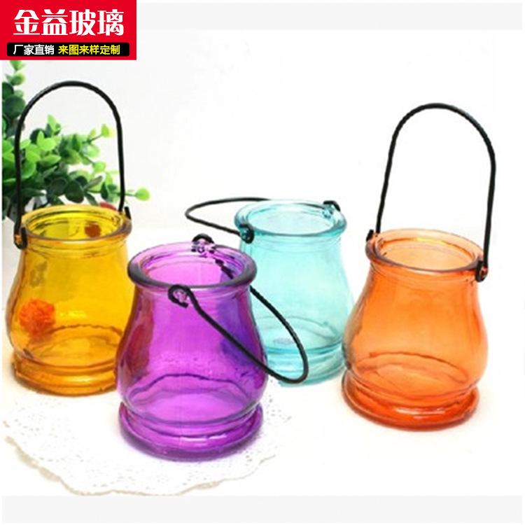 特价清新大口玻璃吊瓶水培容器玻璃烛台彩色多彩瓶花瓶