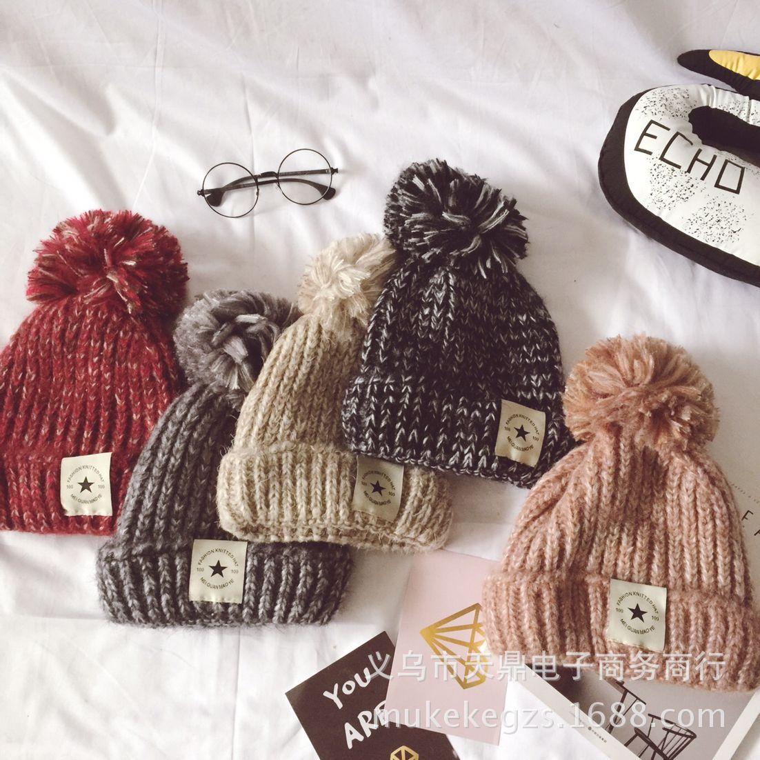 新款成人加絨五星貼標花線撞色毛線帽子 秋冬保暖護耳針織帽子