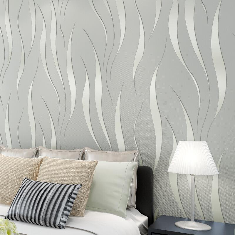 时尚简约3D波浪纹墙纸无纺布发泡壁纸卧室客厅背景墙满铺家装墙纸