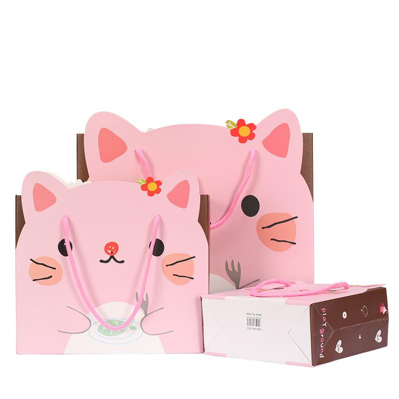 靓典韩版卡通礼品袋 创意手提袋礼物袋白卡纸袋礼品包装袋现货批