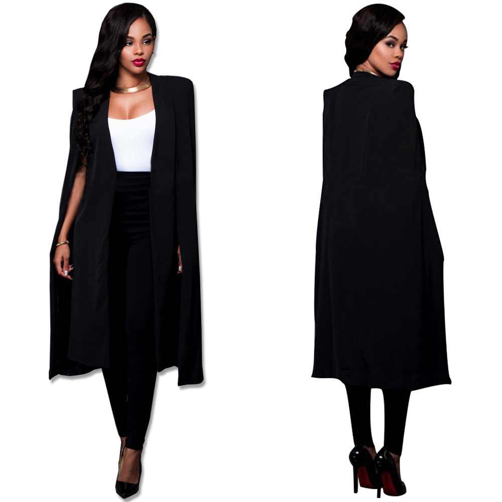 Women Fashion Cape Cardigan Plus Size Loose Long Cloak -2898