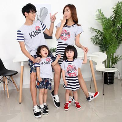Bộ đồ gia đình dáng ngắn trẻ trung, phối họa tiết đáng yêu, nổi bật