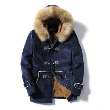 港仔秋冬毛领牛角扣鹿绒皮棉衣男中长款修身加厚保暖青年棉服外套