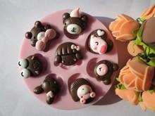 熊兔女孩翻糖手工DIY蛋糕装饰巧克力滴胶糖果烘焙饮粘土硅胶模具