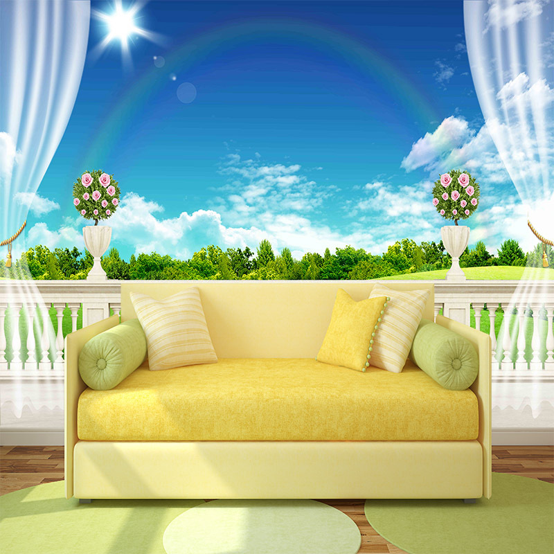 Balcony view wallpaper sunny rainbow mural rolls for wall for Balcony wall decoration