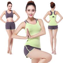 夏季健身服运动三件套装新款莫代尔短袖女跑步瑜伽服三件套批发