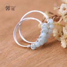 原創設計師手工款 S925純銀戒指天河石女水晶指環批發小指尾戒