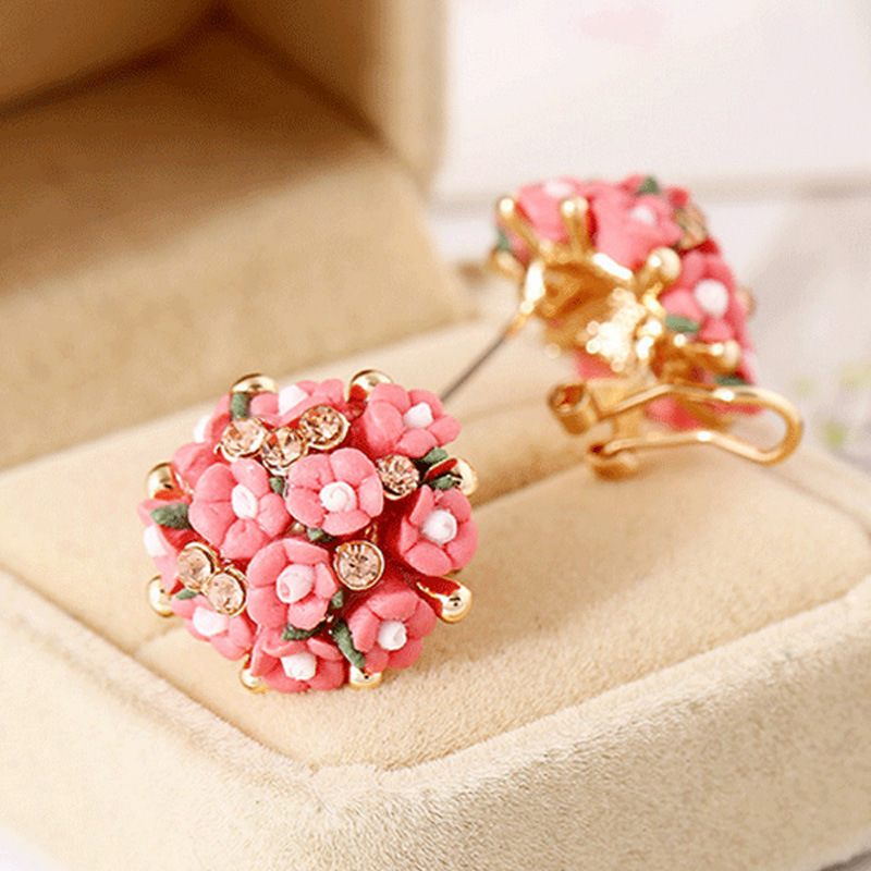 Rose Flower Earrings Korean version popular foreign trade jewelry ceramics lovely earrings Yiwu small commodity earrings wholesale