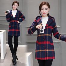 2016秋冬新款韓國復古學院風毛呢格子中長款連帽呢子大衣毛球