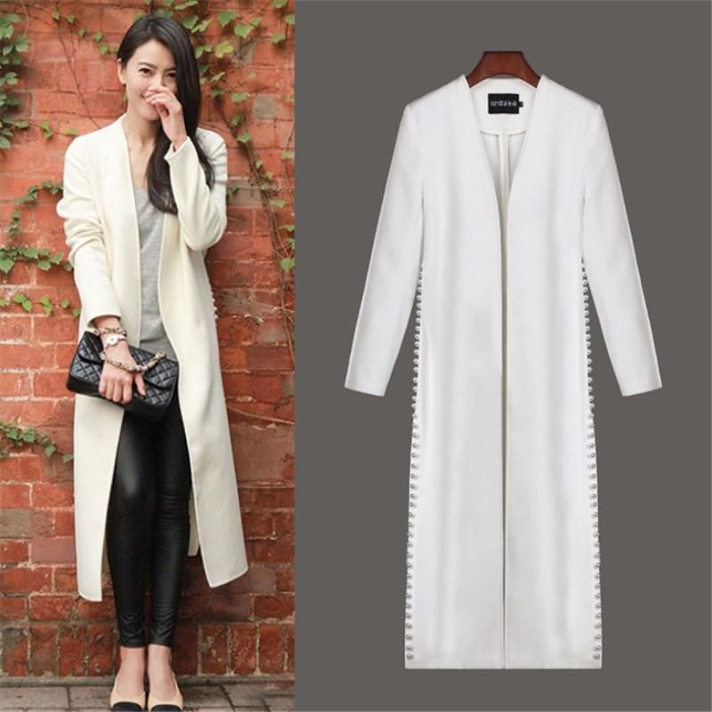 2020新款韩版宽松双面羊绒大衣明星同款高端女装珍珠毛呢外套3651