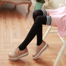 秋冬三条杠长袜子堆堆袜原宿高筒过膝袜 复古日系运动女袜