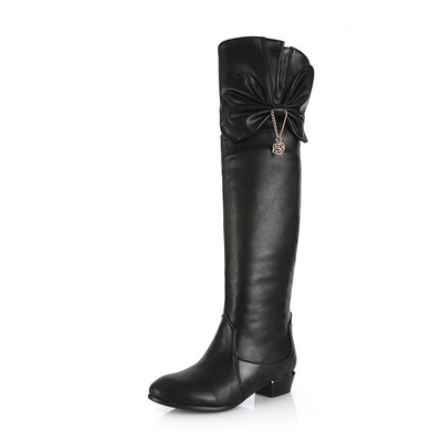 Europe and the United States leather boots leather shoes flower supersize low knee-high boots's main photo